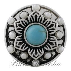 Fémpatent türkisz színü kővel és apró gyöngyökkel