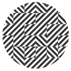 Fekete-fehér geometriás porcelánpatent