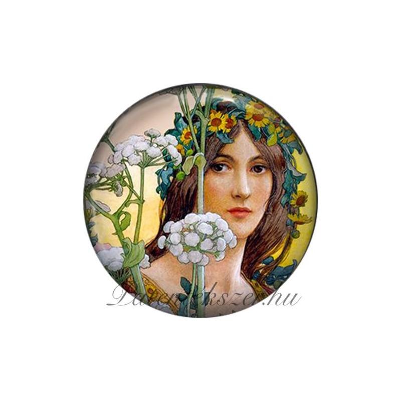 Szecessziós női fej porcelán patent