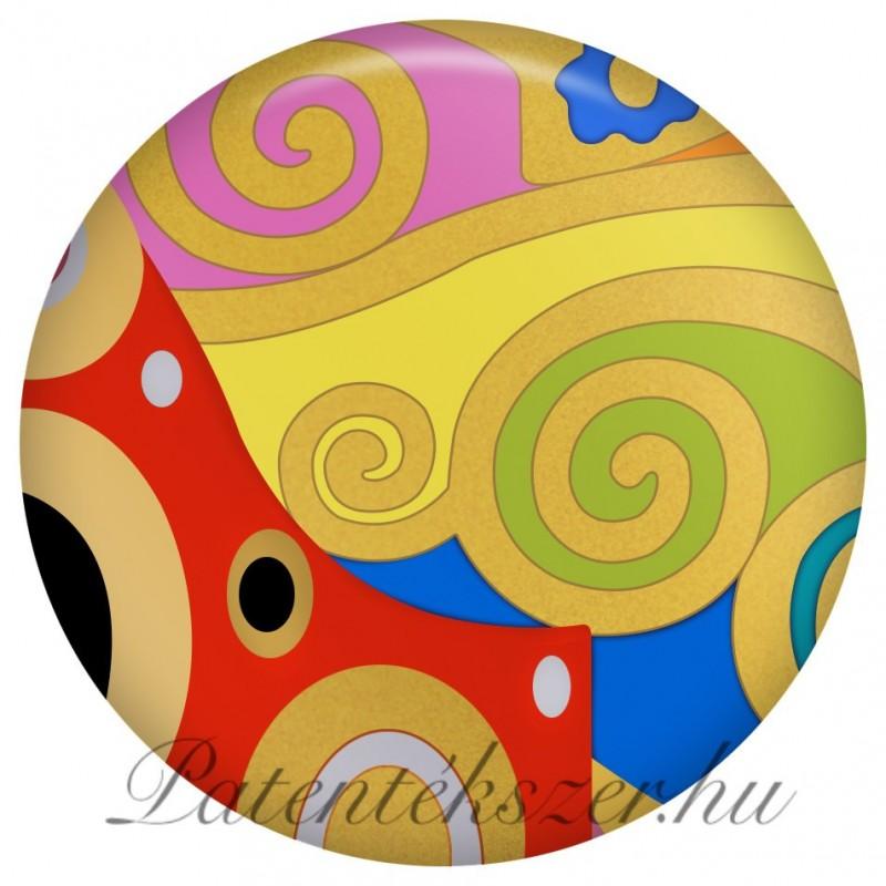 Szecessziós színes kiscsigás porcelánpatent