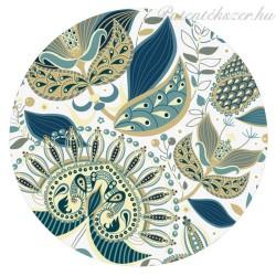 Kék-zöld virágos porcelán patent