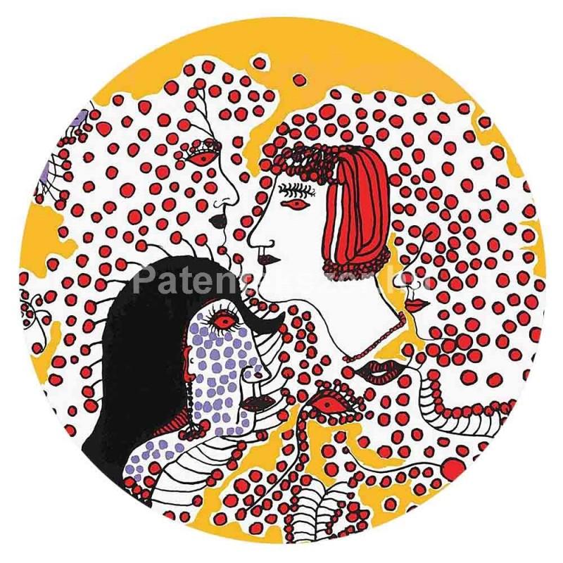 Porcelánpatent modern, fejeket ábrázoló festménnyel