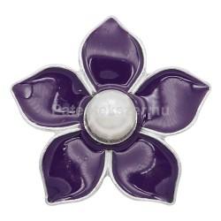 Zománcos virágos fémpatent gyönggyel, több színben
