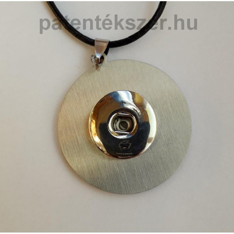 Minimalista fém medálalap fekete bőr lánccal